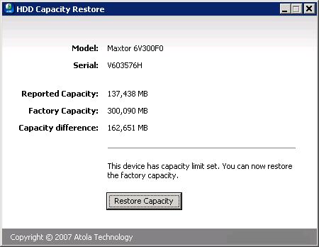 HDD Capacity Restore Tool скачать