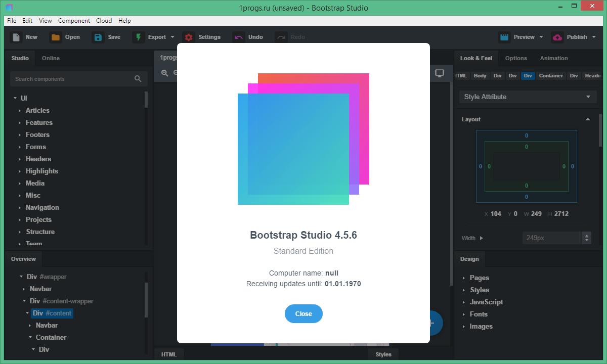 Bootstrap Studio скачать