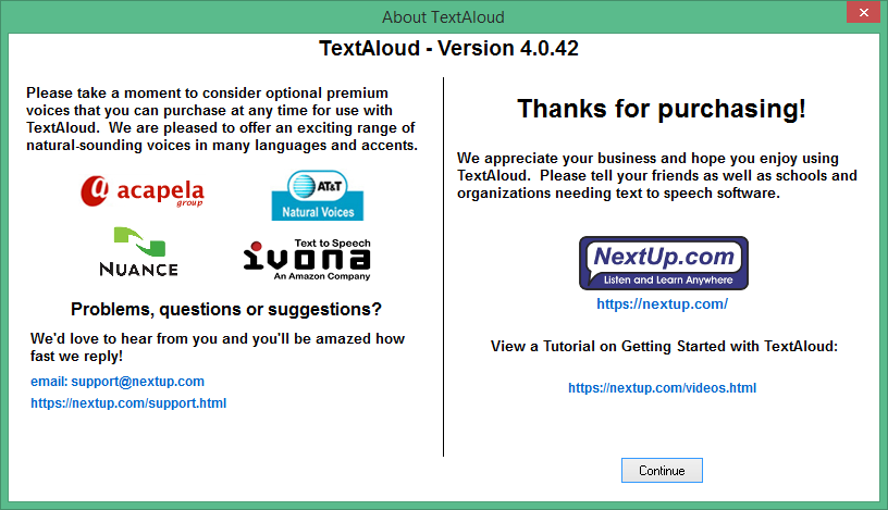 NextUp TextAloud скачать