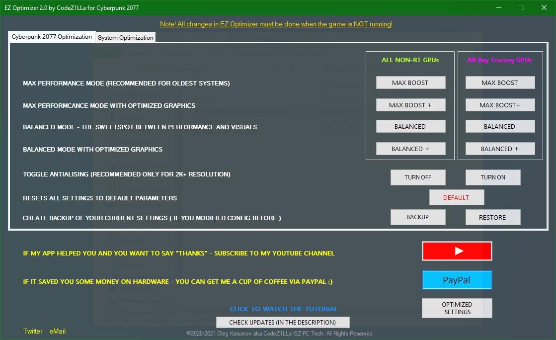 EZ Optimizer for Cyberpunk 2077